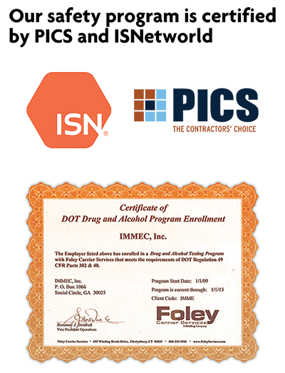 Safety & Training | IMMEC | Certified Drug-Free Workplace | Job Safety